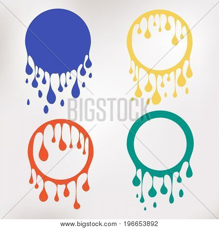 Colorful paint dripping. Water flows. Abstract circle blobs