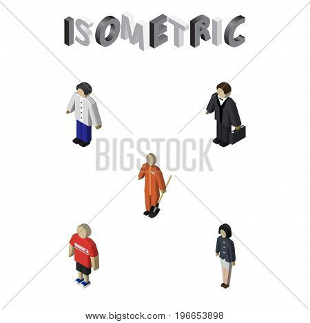 Isometric Person Set Of Guy, Male, Investor And Other Vector Objects