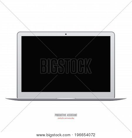 laptop grey color with black blank screen isolated on white background. stock vector illustration eps10