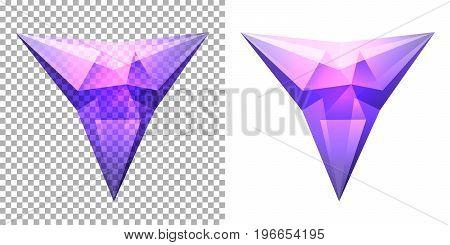 Vector transparent complex geometric shape based on tetrahedron. Violet