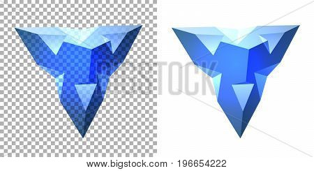 Vector transparent complex geometric shape based on tetrahedron. Blue