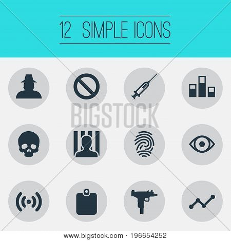 Elements Stop, Skeleton, Inspector And Other Synonyms Badge, Set And Skeleton.  Vector Illustration Set Of Simple Fault Icons.