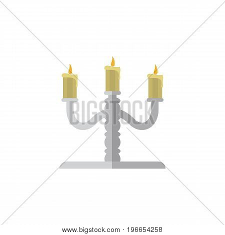Candlestick Vector Element Can Be Used For Candelabrum, Candlestick, Candle Design Concept.  Isolated Candelabrum Flat Icon.