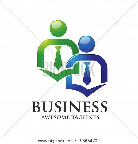 business people staffing, employee elegant connecting people logo concept