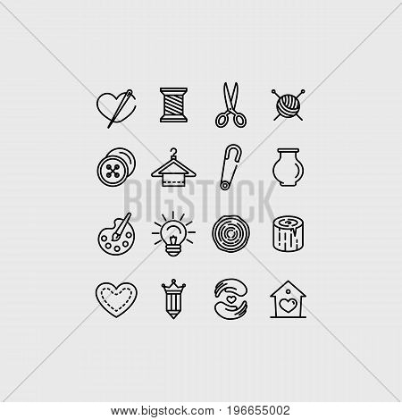 Vector Set Of Linear Icons Related To Handmade
