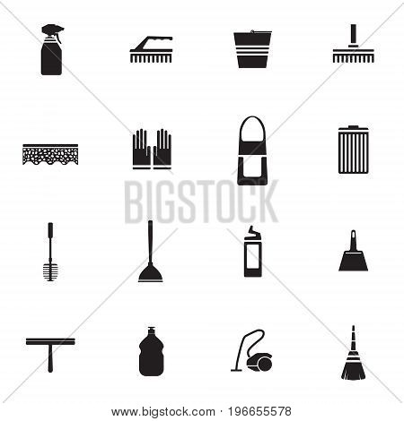 Flat housework icons set with cleaning tools equipment and products in monochrome style isolated vector illustration