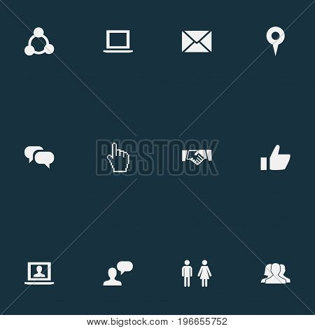 Elements Notebook, Web, Chat And Other Synonyms Internet, Like And Messaging.  Vector Illustration Set Of Simple Internet Icons.