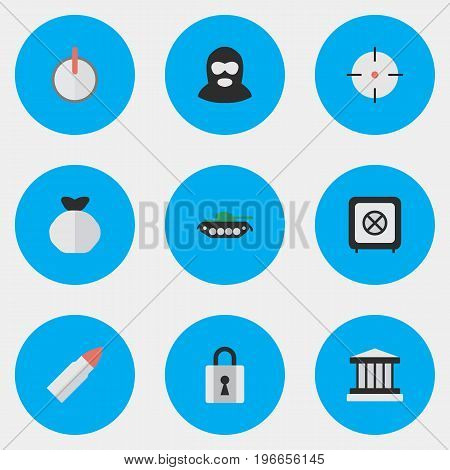 Elements Safe, Grille, Closed And Other Synonyms Safe, Vault And Armored.  Vector Illustration Set Of Simple Crime Icons.