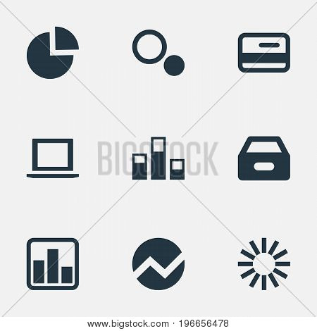 Elements Circular Diagram, Drawer, Economy And Other Synonyms Finance, Computer And Drawer.  Vector Illustration Set Of Simple Analysis Icons.