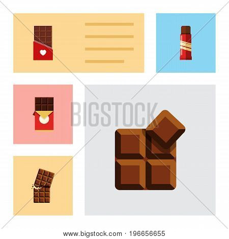 Flat Icon Cacao Set Of Sweet, Wrapper, Cocoa And Other Vector Objects