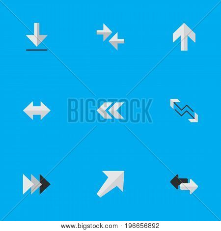 Elements Export, Southwestward, Arrow And Other Synonyms Back, Rearward And Backward.  Vector Illustration Set Of Simple Indicator Icons.