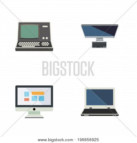Flat Icon Laptop Set Of Display, PC, Technology And Other Vector Objects