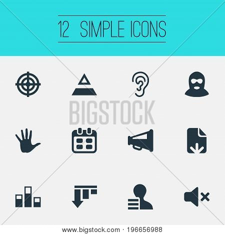 Elements Aim, Palm, Reminder And Other Synonyms Speaker, Work And Off.  Vector Illustration Set Of Simple Impasse Icons.