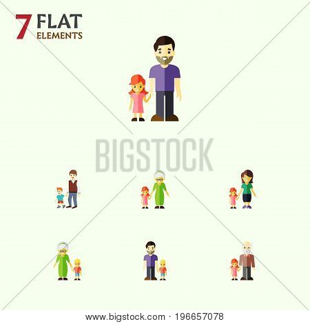 Flat Icon People Set Of Father, Grandma, Grandpa Vector Objects