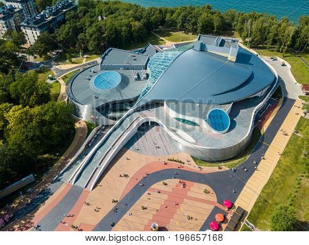 Svetlogorsk, Russia - July 23, 2017: Aerial view of the Amber Hall (Yantar Hall) theatre at sunny day time