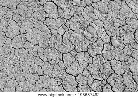 Cracked dry earth texture background. Clay desert surface. Discolored illustration for global warming news.