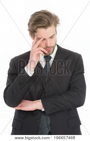 Businessman In Black Formal Outfit With Tired Or Thinking Face