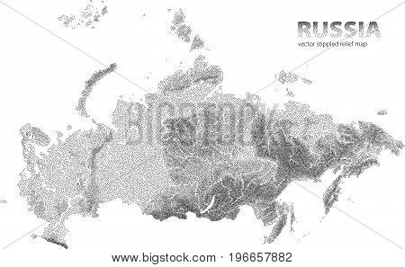 Stippled relief map of Russia. Vector illustration.