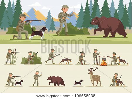 Colorful hunting concept with wild animals dogs and hunters in different situations vector illustration