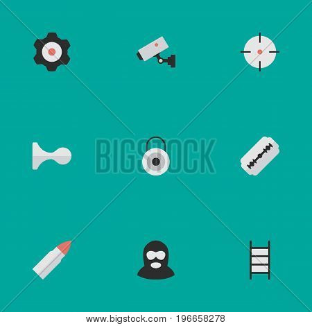 Elements Hunting, Lock, Target And Other Synonyms Key, Gear And Deer.  Vector Illustration Set Of Simple Criminal Icons.