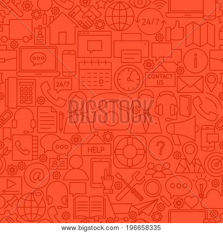 Contact Red Line Tile Pattern. Vector Illustration of Outline Seamless Background. Business Communication.