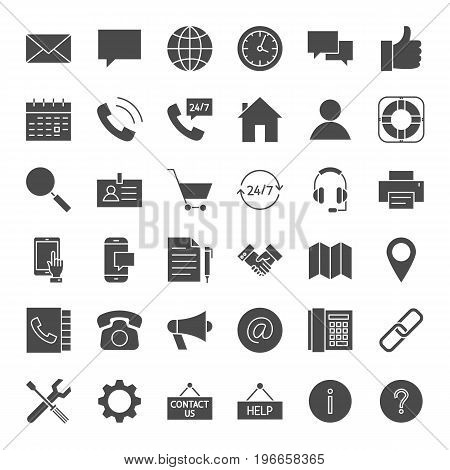 Contact Solid Web Icons. Vector Set of Business and Computer Glyphs.