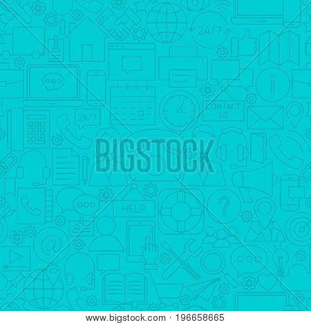 Contact Us Line Tile Pattern. Vector Illustration of Outline Seamless Background. Business Communication.