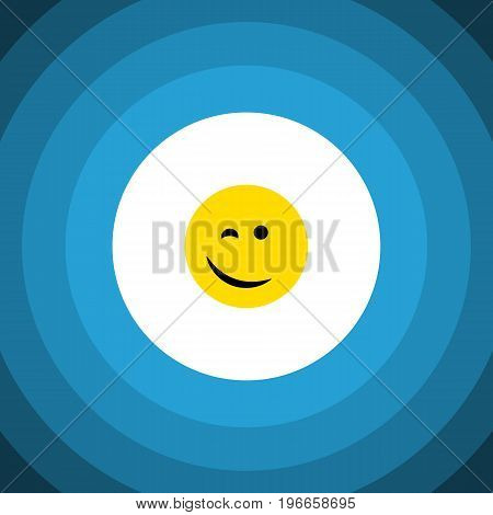 Winking Vector Element Can Be Used For Happy, Winking, Face Design Concept.  Isolated Happy Flat Icon.