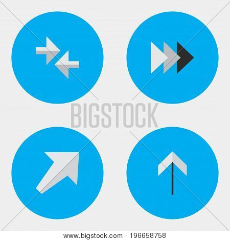 Elements Southwestward, Up, Export And Other Synonyms Forward, Up And Southwestward.  Vector Illustration Set Of Simple Indicator Icons.