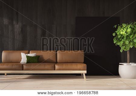 Black Wall, Brown Sofa