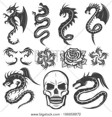 Vintage monochrome tattoos collection with fantasy dragons flowers and skull isolated vector illustration