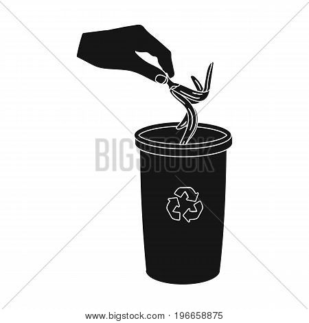 Emission of banana peel into the garbage can for waste. Rubbish and Ecology single icon in black style vector symbol stock illustration .