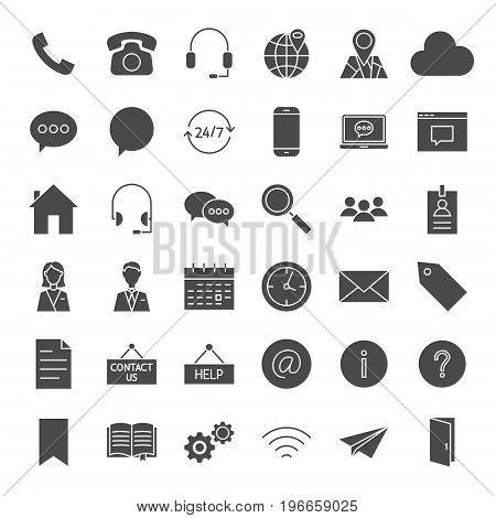 Contact Us Solid Web Icons. Vector Set of Business and Computer Glyphs.