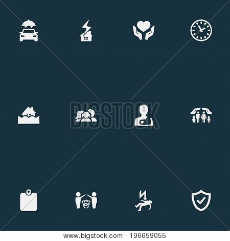 Elements Electric Shock  Jeopardy, Chronometr, Weather Safety And Other Synonyms Clock, Office And Jeopardy.  Vector Illustration Set Of Simple Insurance Icons.