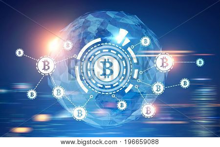 Bitcoin network sketch with a large bitcoin sign inside an HUD in front of a world map. Blurred blue background. Toned image double exposure.