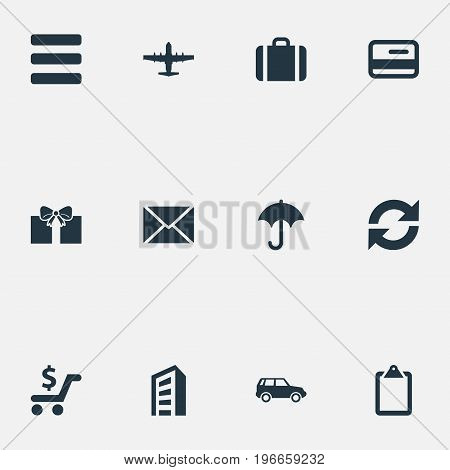 Elements Envelope, Online Transaction, Plane And Other Synonyms Car, Repeatability And Skyscraper.  Vector Illustration Set Of Simple Distribution Icons.