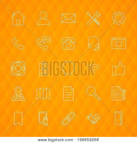 Line Contact Us Icons. Vector Illustration of Outline Business Symbols over Polygonal Background.