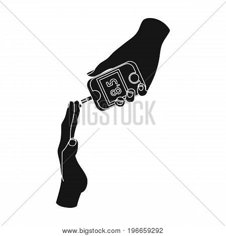 Measuring the level of sugar in the blood of a person with a Glucometer. Medicine single icon in black style vector symbol stock illustration .