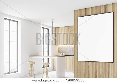 Wooden kitchen interior with a bar like table two stools near it and a row of countertops. A framed vertical poster on a wall. Side view. 3d rendering mock up