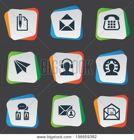 Elements Education, Epistle Author, Open Envelope And Other Synonyms Button, Push And Earmuff.  Vector Illustration Set Of Simple Communication Icons.