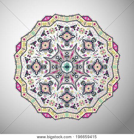 Ornamental round bright geometric pattern in aztec style