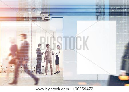 Company employee sare walking in a modern office lobby with glass and gray walls a concrete floor and a large vertical poster. 3d rendering mock up toned image double exposure