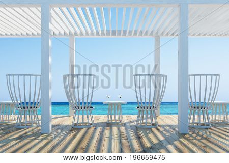 White wooden chairs and small round tables with cocktails in an outdoors cafe with a wooden ceiling and floor. Seaside with a cloudless sky. 3d rendering mock up