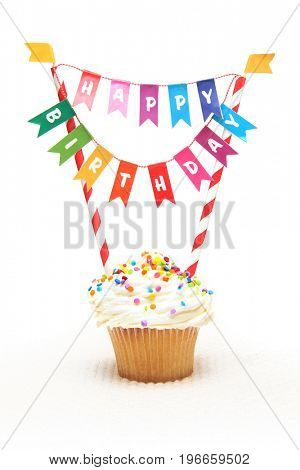 Happy Birthday cupcake with Birthday banner.