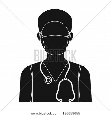 The doctor is wearing a face mask with a phonendoscope. Medicine single icon in black style vector symbol stock illustration .