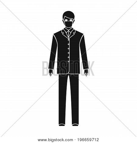The man is a doctor in uniform and a protective mask. The medicine single icon in black style vector symbol stock illustration .