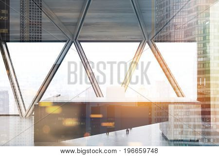 CEO table made of white and black wood is standing near a window with triangular frames. 3d rendering mock up toned image double exposure