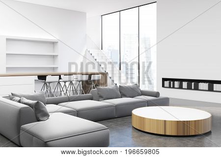 White and gray living room interior with a round table light gray sofas and armchairs near it tall windows and book shelves. Corner. 3d rendering mock up