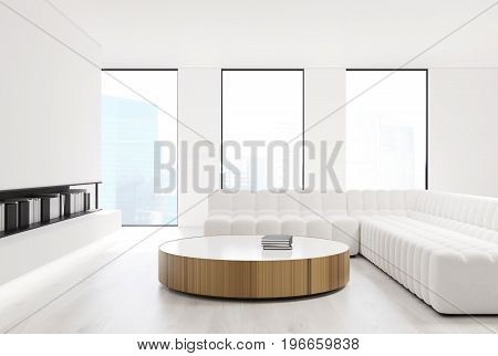White living room interior with loft windows a bookshelf and comfortable sofas standing near a round table. Front view. 3d rendering mock up