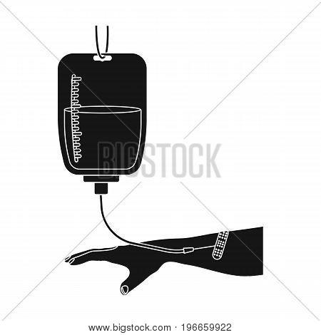 Procedure of blood transfusion. Medicine single icon in black style vector symbol stock illustration .